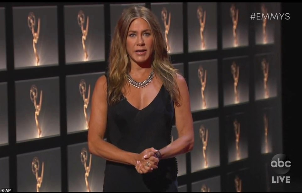 Simply stunning: Jennifer Aniston looked gorgeous as she presented the first award of the night