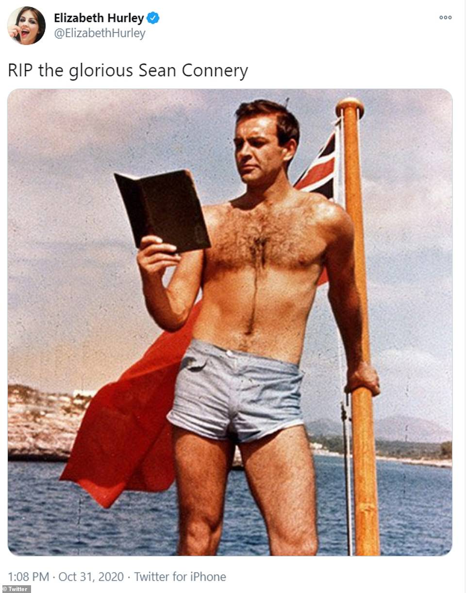 Gushing: Elizabeth Hurley took to her social media to share a snap of Connery during his Bond heyday, as he read a book on a yacht while dressed in a pair of shorts, and she gushed: 'RIP the glorious Sean Connery'