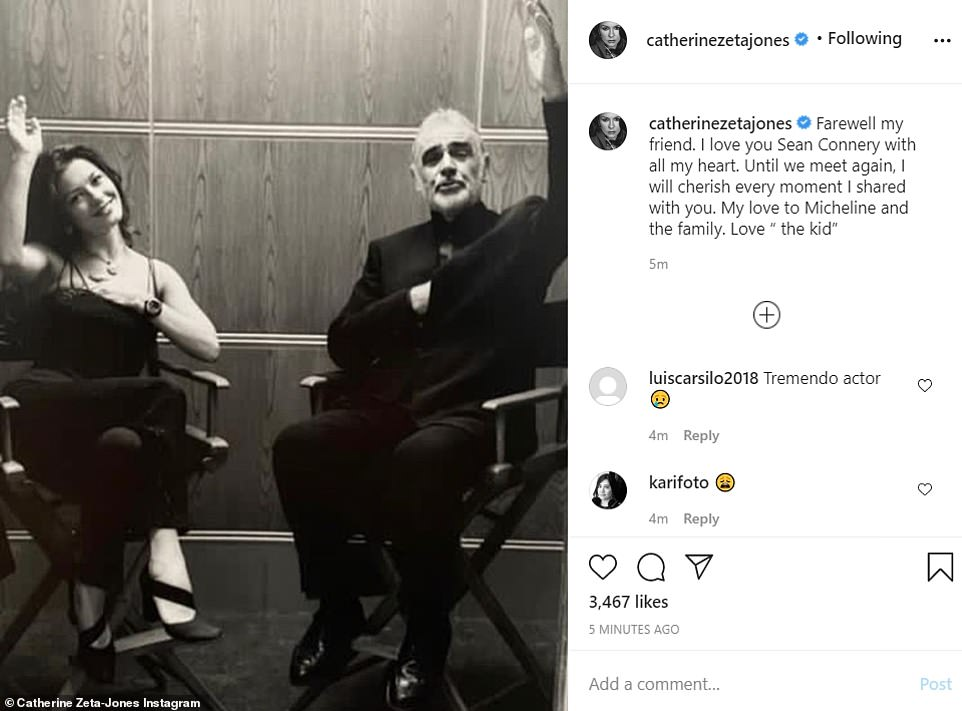 Poignant: Catherine Zeta-Jones, who starred in Entrapment with Connery in 1999, shared a picture with him from behind-the-scenes of their film, saying she loved him 'with all [her] heart'